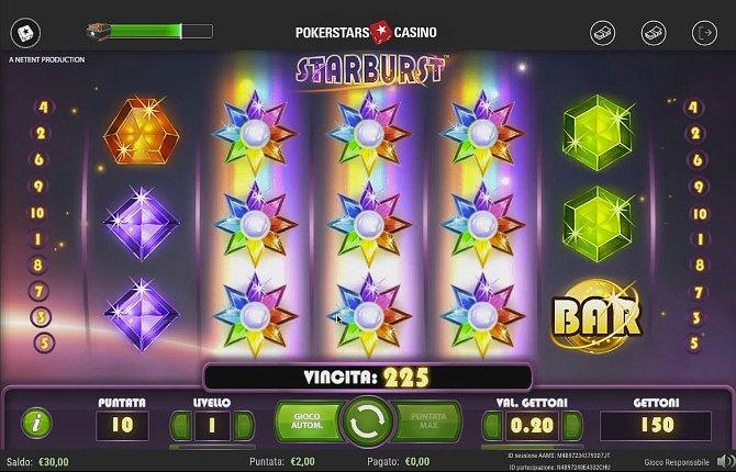 Starburst, a slot with gem-based symbols